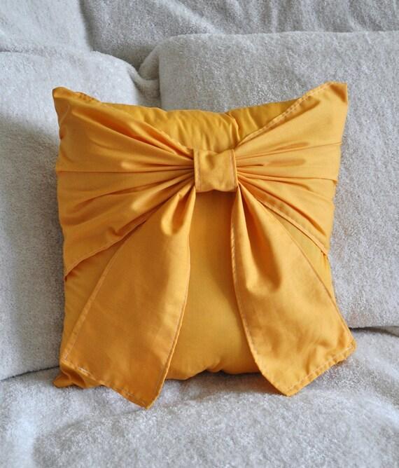 Golden Yellow Bow Pillow -Mustard Yellow-