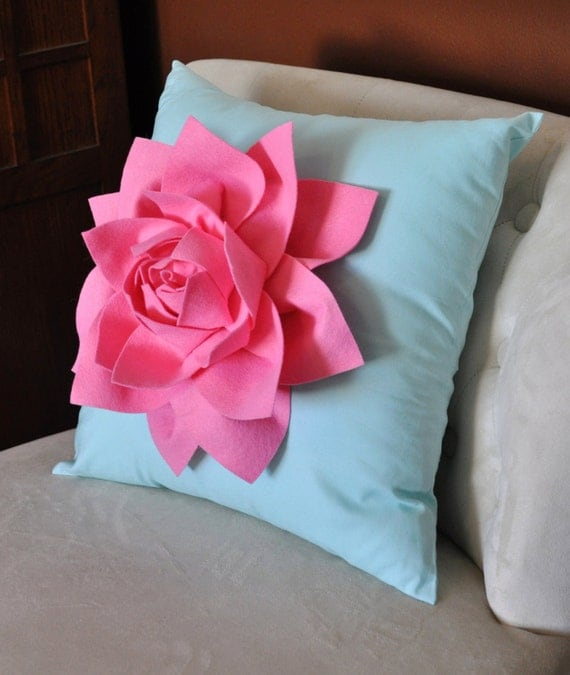 Decorative Pillows Flowers : Decorative Pillow Lotus Flower Throw Pillow Pink on Aqua