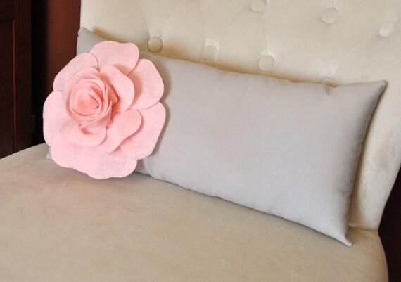 Lumbar Pillow Light Pink Rose on Light Gray Pillow