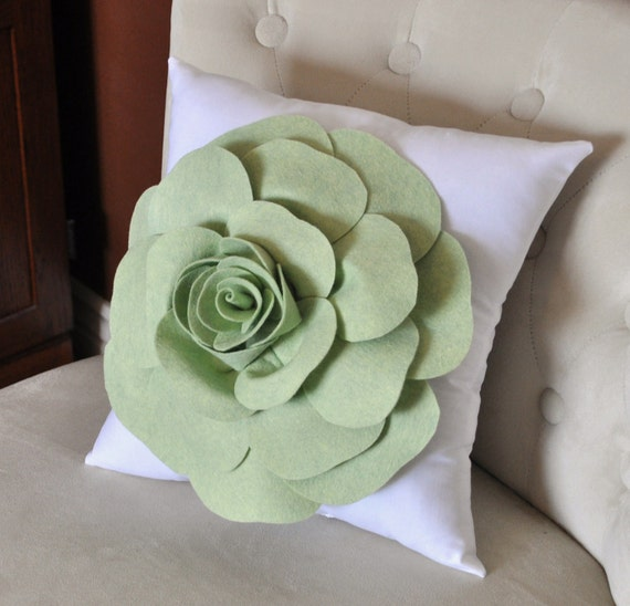 Pastel Green Rose on White Pillow Baby Nursery Decor 14x14