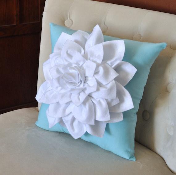 White Dahlia Felt Flower on Blue Pillow