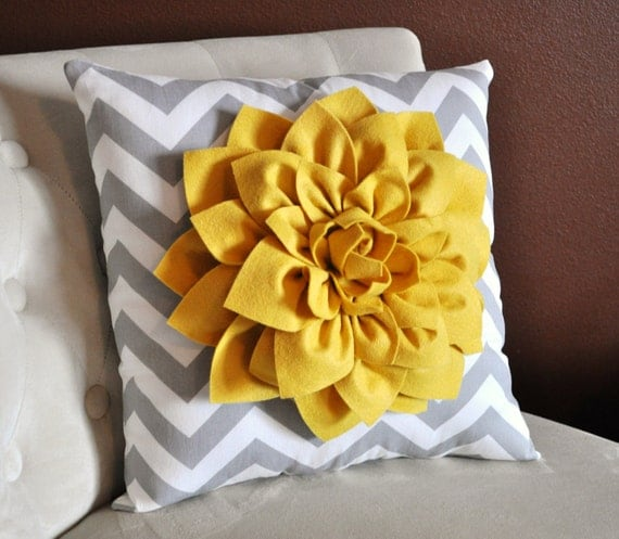 Mellow Yellow Dahlia on Gray and White Zigzag Pillow -Chevron Pillow-