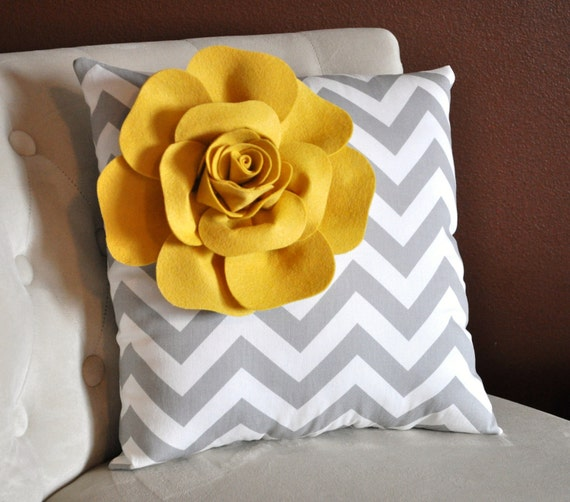 Mellow Yellow Corner Rose on Gray and White Zigzag Pillow 14 X 14 -Chevron Flower Pillow- Zig Zag Pillows