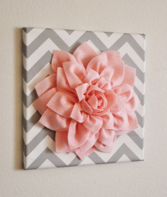 Wall flower light pink dahlia on gray and white by bedbuggs for Pink wall art