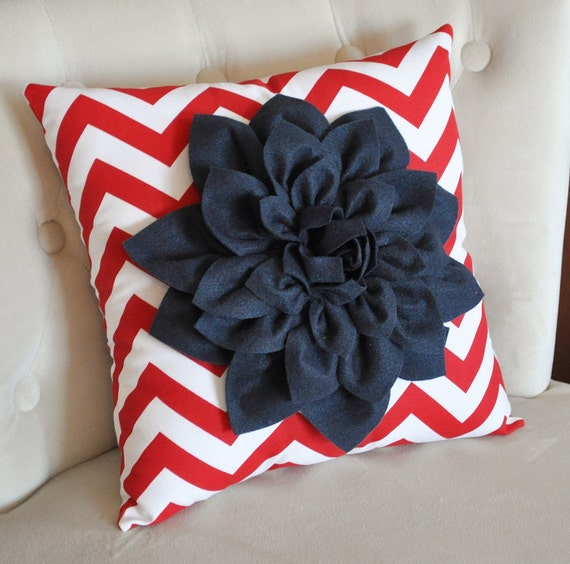 Navy Blue Dahlia on Red and White Zigzag Pillow -Chevron Pillow-  Red White and Blue