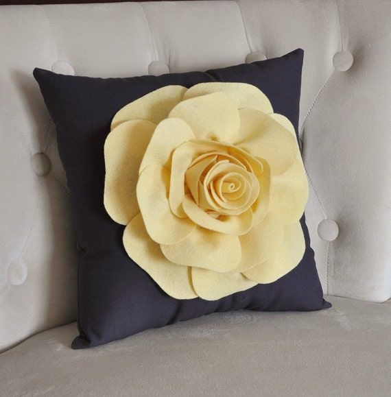 Light Yellow Rose on Gray Pillow