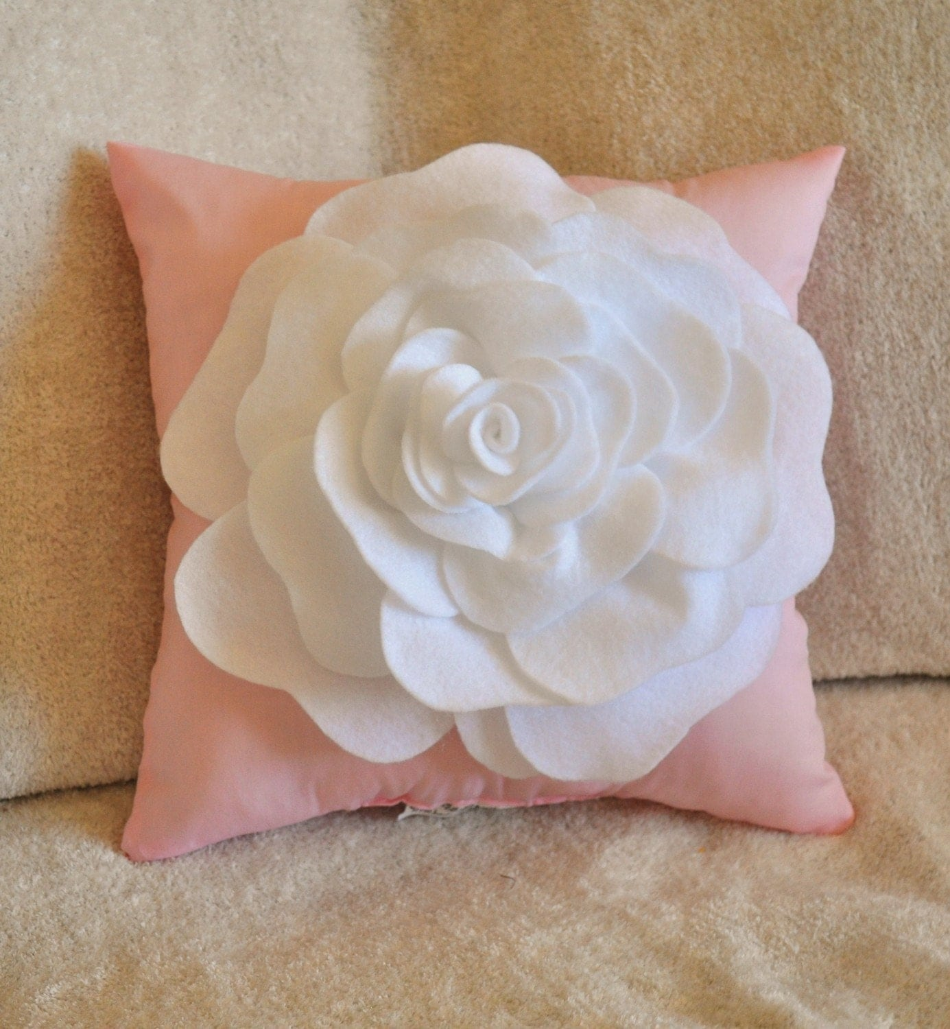 throw pillow white rose on light pink pillow 12x12. Black Bedroom Furniture Sets. Home Design Ideas