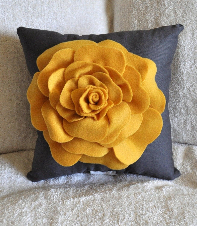 Mustard Yellow Rose On Cream Pillow 14x14