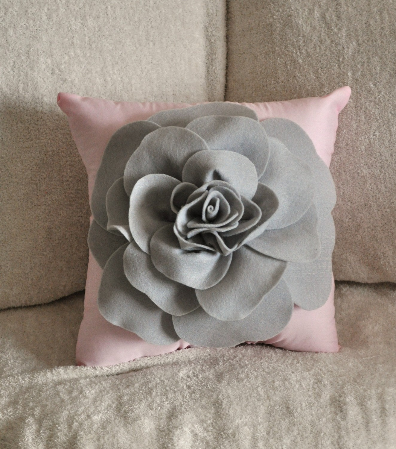 Grey And Pink Decorative Pillows : Pillows Light Grey Rose on Light Pink Pillow 14x14 by bedbuggs