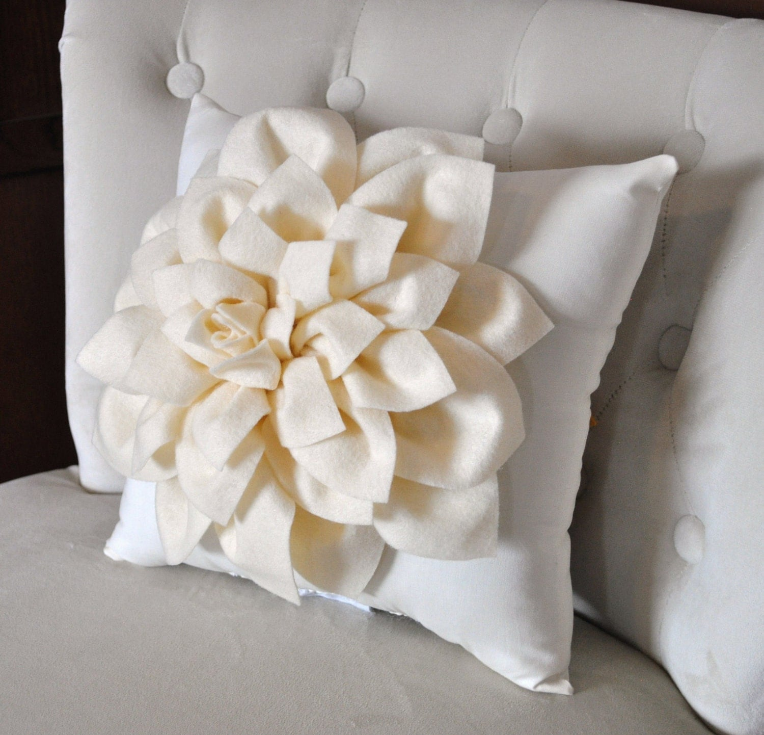 Ivory Dahlia Felt Flower on Ivory Pillow Pick your by bedbuggs
