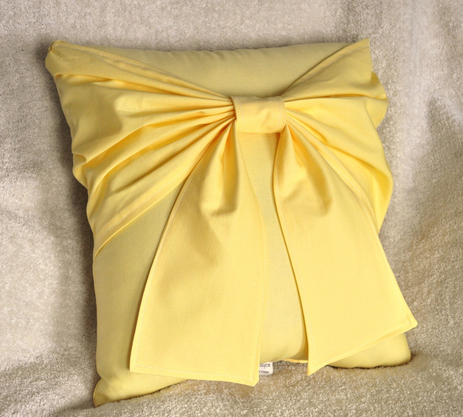 Decorative Throw Pillows Etsy : Yellow Bow Pillow Decorative Pillow