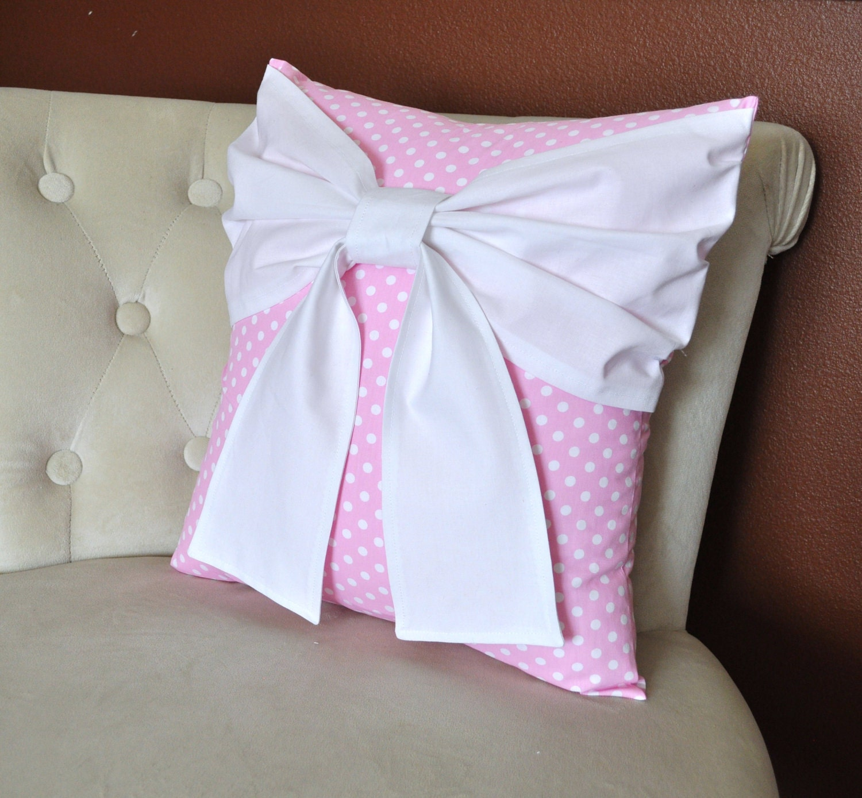 Nursery Decor Pink Polka Dot Pillow With Big White Bow