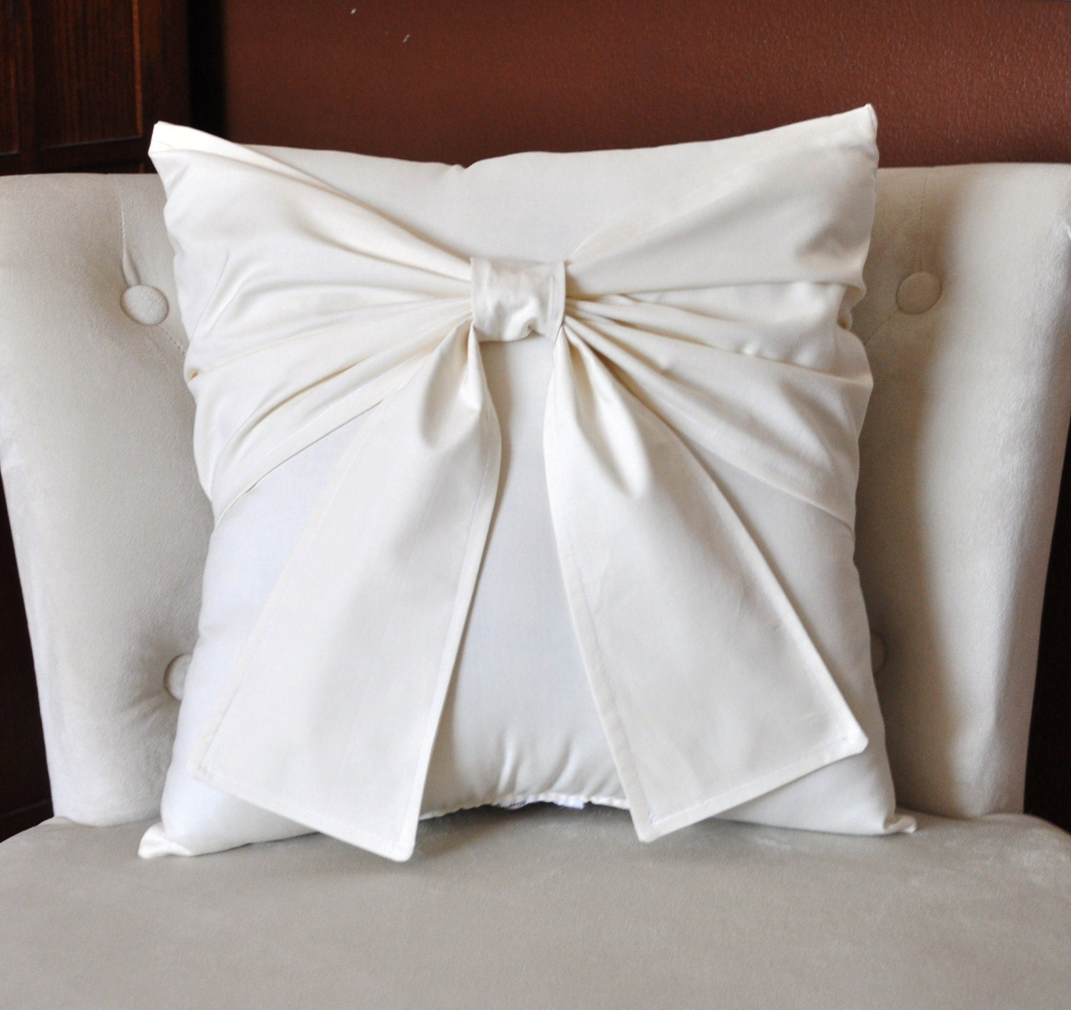 Decorative Pillows Etsy : Cream Bow Pillow Decorative Pillow 16 x 16