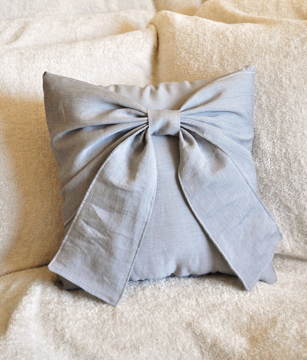 Decorative Pillow With Bow : Gray Bow Pillow Decorative Throw Bow 14 x 14 Pillow