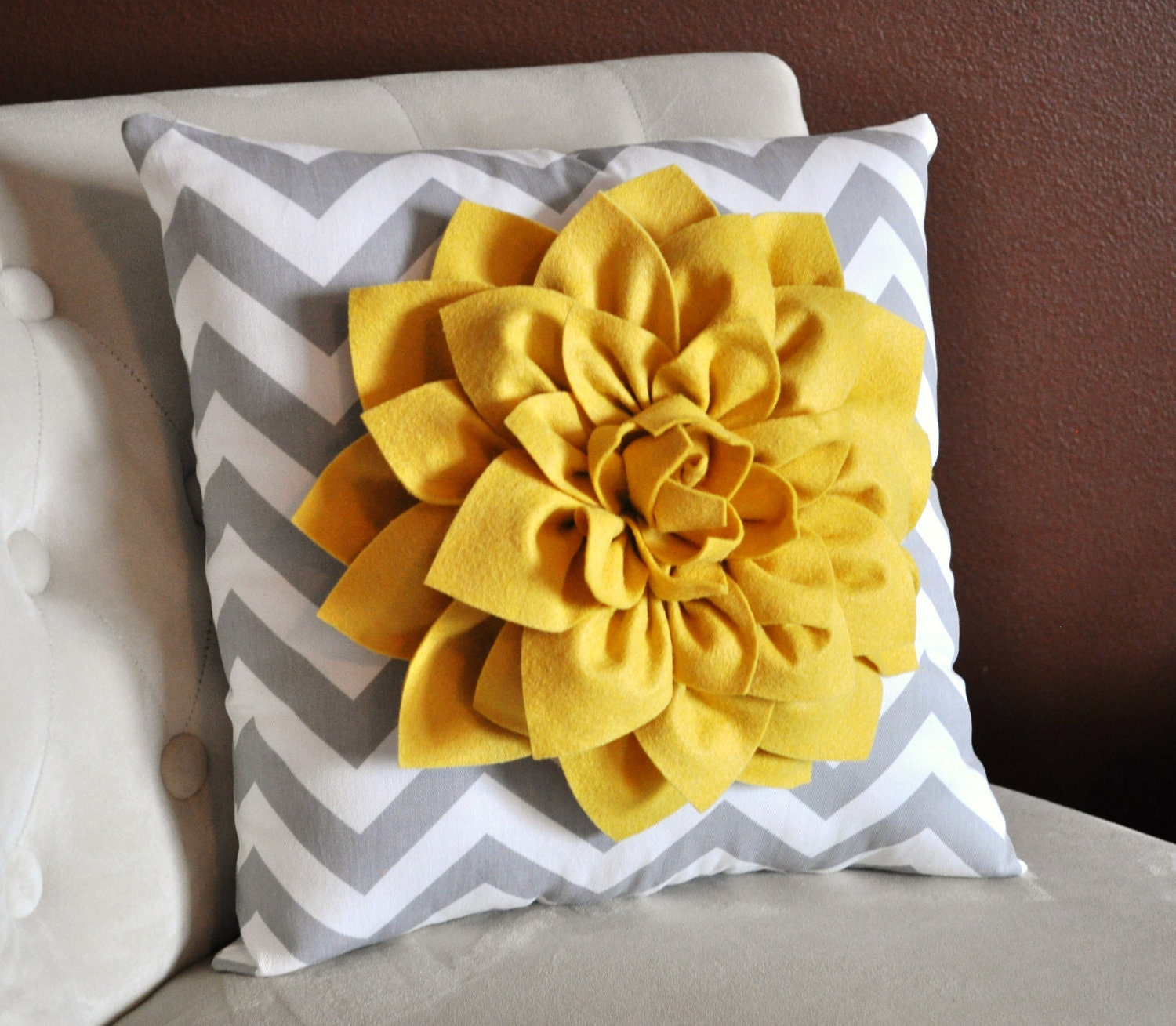 Mellow Yellow Dahlia On Gray And White Zigzag Pillow By