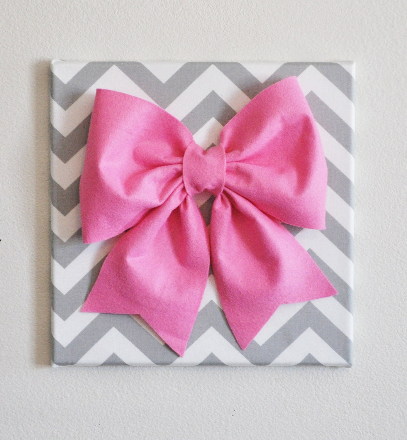 Large pink bow on gray and white chevron 12 x12 canvas for Pink wall art