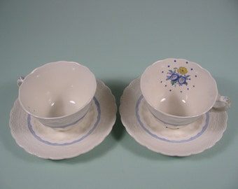Rare Matching Bone China Teacups w/saucers