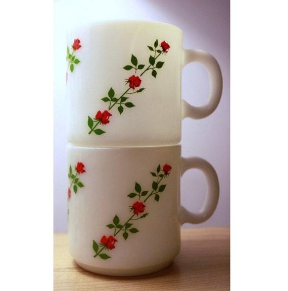 Vintage Milk Glass Mugs ROSES Set of 2...sale