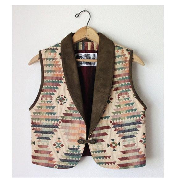 Vtg Southwest boho Vest native Waistcoat cropped Suede Lapel S-M