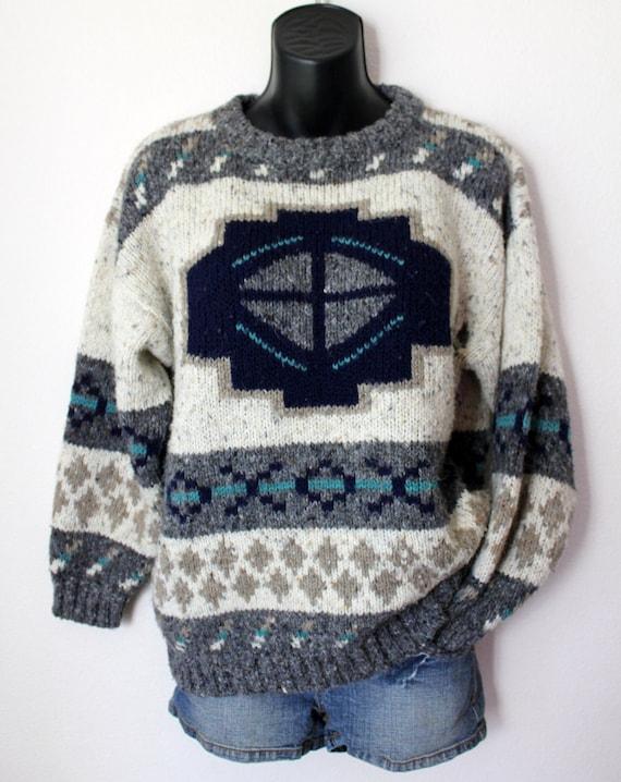 Vtg Knit Grandpa Lodge Sweater Native aztec Jumper M