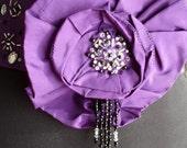 Beaded purple obi belt - Last piece - Size M