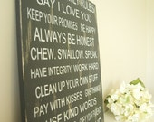 Subway Roll Style Sign - Family Rules. Say I Love You, Always Be Honest, Pay With Kisses, Give Thanks, Laugh Out Loud. Personalize it for Mother's Day.