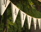 Customized Wood Wedding Bunting With Your Names. 10 to 12 flags