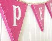 Custom Bunting Banner Pennant Flag Vintage Style in Wood Child's Room Nursery Playroom Customize Your Text and Colours. Pink Magenta Fuschia Fuchsia  (other colors available) 4-6 Flags