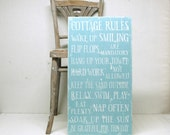 Family Rules Wood Sign Cottage Rules, Beach House Rules or Lake House Rules. Flip Flops are Mandatory. Large - SignsofVintage