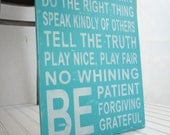 Family Rules in Aqua Turquoise. Vintage Style Shabby Chic Sign in Wood. Be Patient,  No Whining.