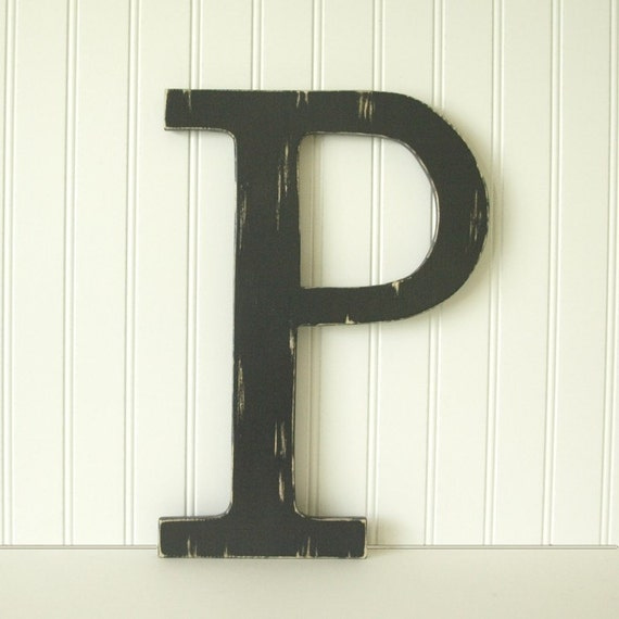 Large wood letter p in black or choose your own letter for Large wooden letter p