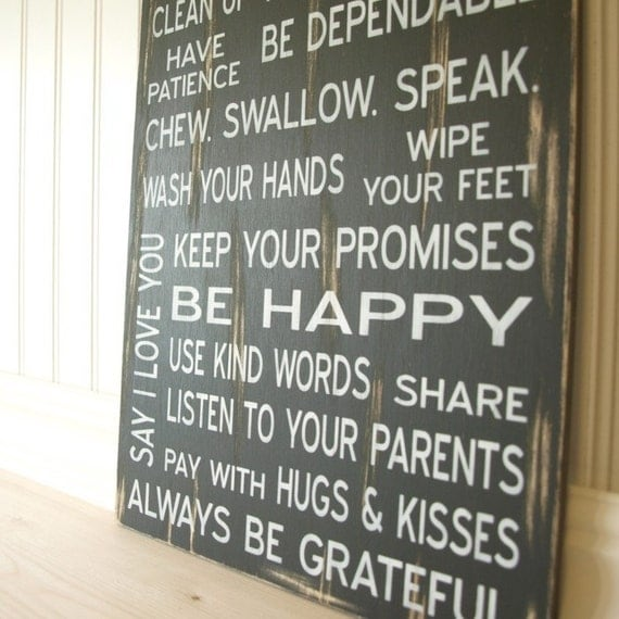 Family Rules Sign - Say I Love You, Be Happy, Lsten to Your Parents. Vintage Style. White Text, Black Wood. Customize Personalize Option Available.