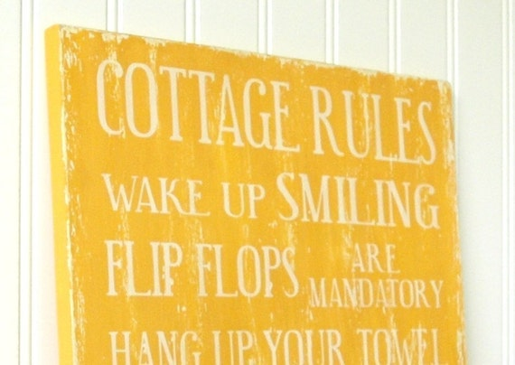Family rules Cottage Style in Mustard Yellow. Flip Flops are Mandatory, Worship the Sun. Customize it.