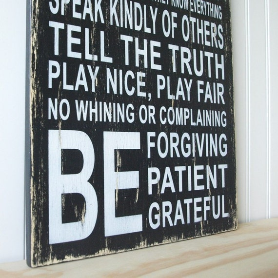 Family Rules Sign in Vintage Black and White
