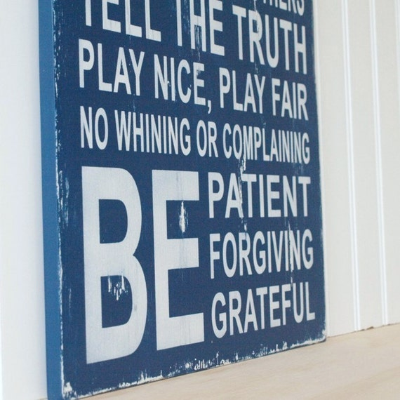Family Rules Sign in Navy Blue. Be Patient, Do Your Best, No Whining. Vintage Style Wood Sign. Available in other Colors.