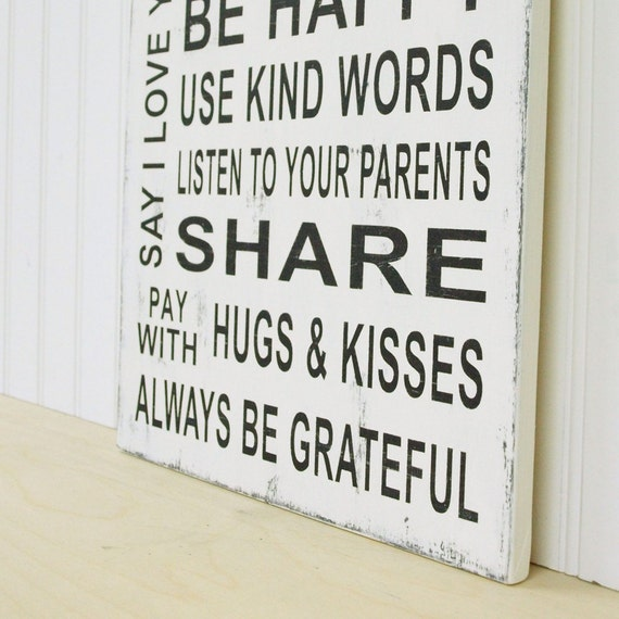 Cottage White Family Rules Sign. Vintage Style. Be Happy, Listen to Your Parents, Always Be Grateful