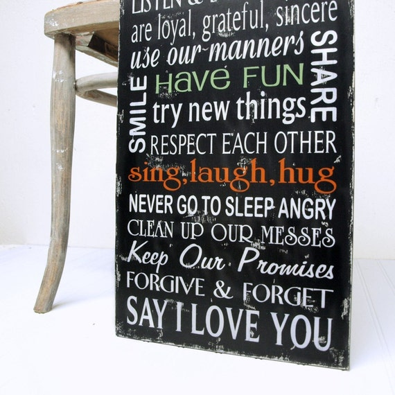 Family Rules In Our House We...Wood Sign Black RESERVED For