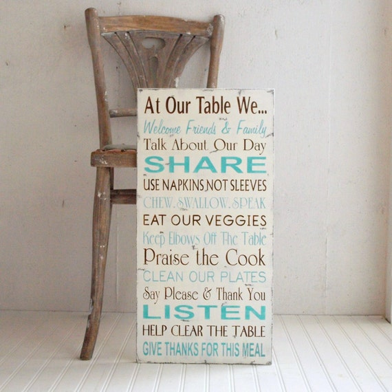 Family Rules Table Manners Kitchen Rules in Chocolate and Aqua. At Our Table We...