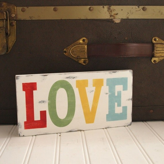 Love Wood Sign Handpainted Vintage Style by SignsofVintage ...