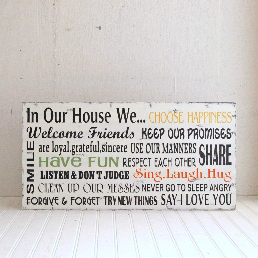 House Rules In Our House We.. Family Rules Wood By