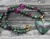 Radiant Ruby in Zoisite Necklace with Swarovski Crystals