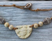 Handmade Tan Ceramic Acorn Necklace with Suede and Ceramic Button