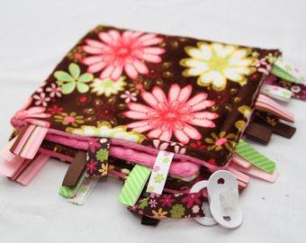Baby Tag Ribbon Blanket - Minky Binky Blankie - Wildflower