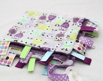 Baby Ribbon Tag Blanket - Minky Binky Blankie - What a Hoot - Lavendar