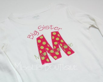 Big Sister Shirt, Little Sister Shirt - Personalized Initial Applique - SHORT Sleeve