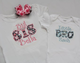 Big Sister Shirt and Little Brother Shirt with Matching Hairbow - Pink/Grey and Blue/Grey