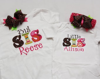 Big Sister Shirt and Little Sister Shirt with Matching Hairbows