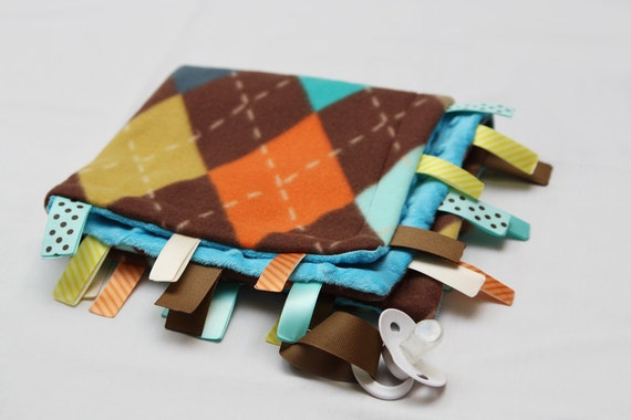 Baby Ribbon Tag Blanket - Minky Binky Blankie -- Aqua Argyle