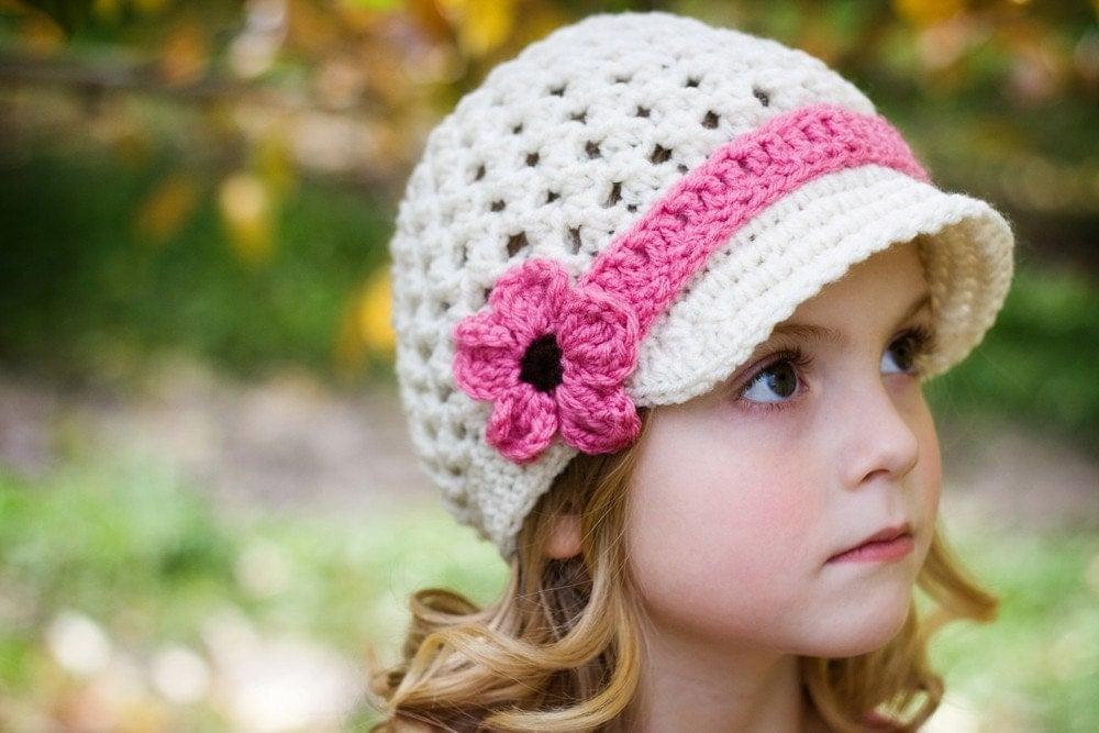 Girls Crochet Hat Visor Beanie with Mary Jane by ...