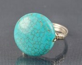 Custom Listing- Round Turquoise Magnesite Gemstone and Sterling Silver Wire Wrapped Ring